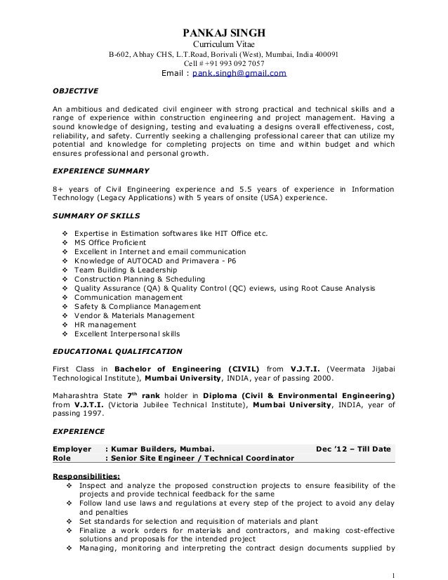 Great Pankaj Resume   Construction Project Manager. PANKAJ SINGH Curriculum Vitae  B 602, Abhay CHS, L.T.Road, ... Regard To Project Manager Construction Resume