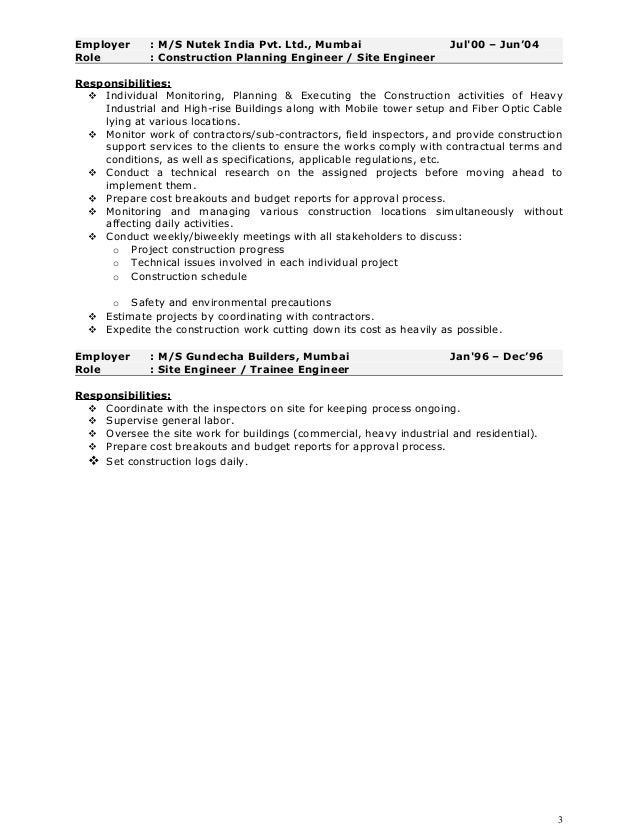 SlideShare  Project Manager Construction Resume