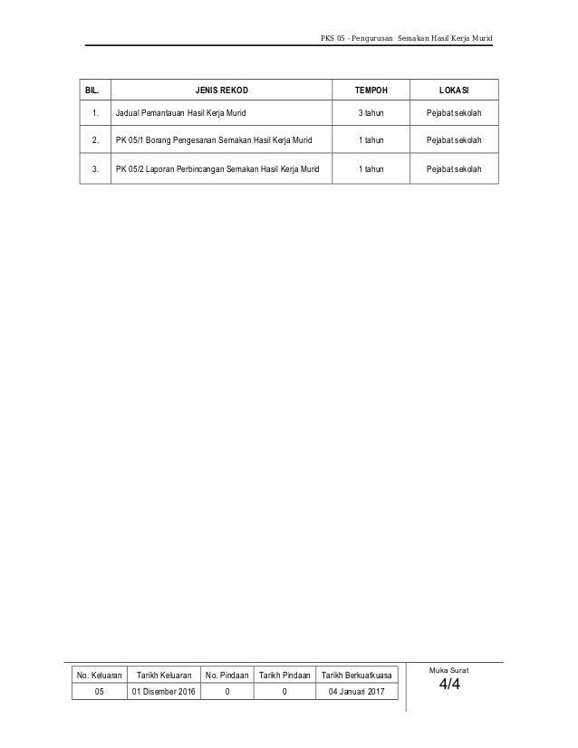PKS 05 - Pengurusan Semakan Hasil Kerja Murid BIL. JENIS REKOD TEMPOH LOKASI 1. Jadual Pemantauan Hasil Kerja Murid 3 tahu...