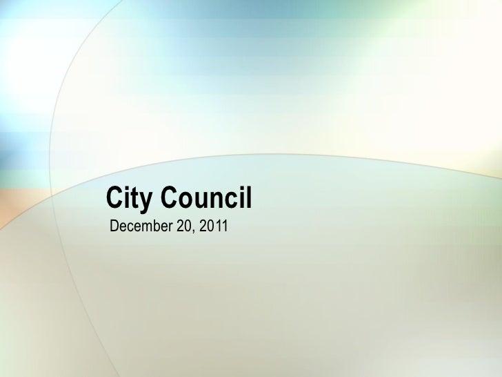 City Council December 20, 2011