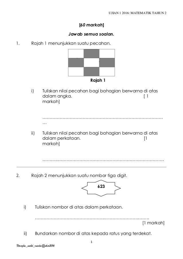 Matematik Tahun 2 Pksr 1 Kertas 2
