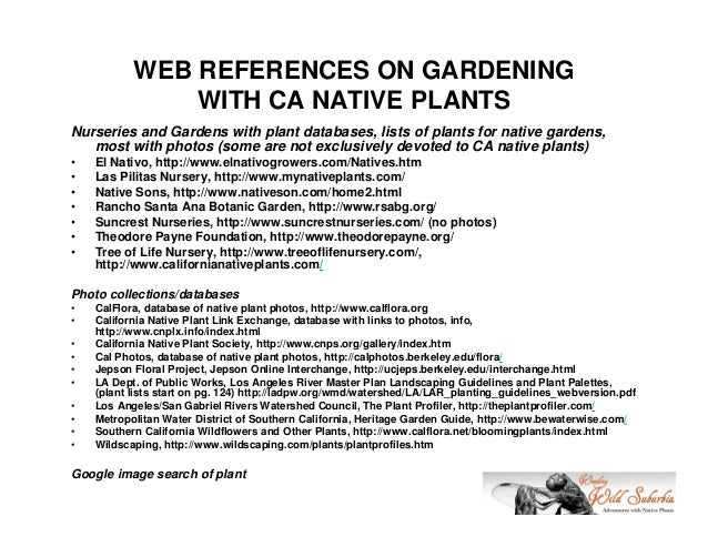 WEB REFERENCES ON GARDENING               WITH CA NATIVE PLANTSNurseries and Gardens with plant databases, lists of plants...
