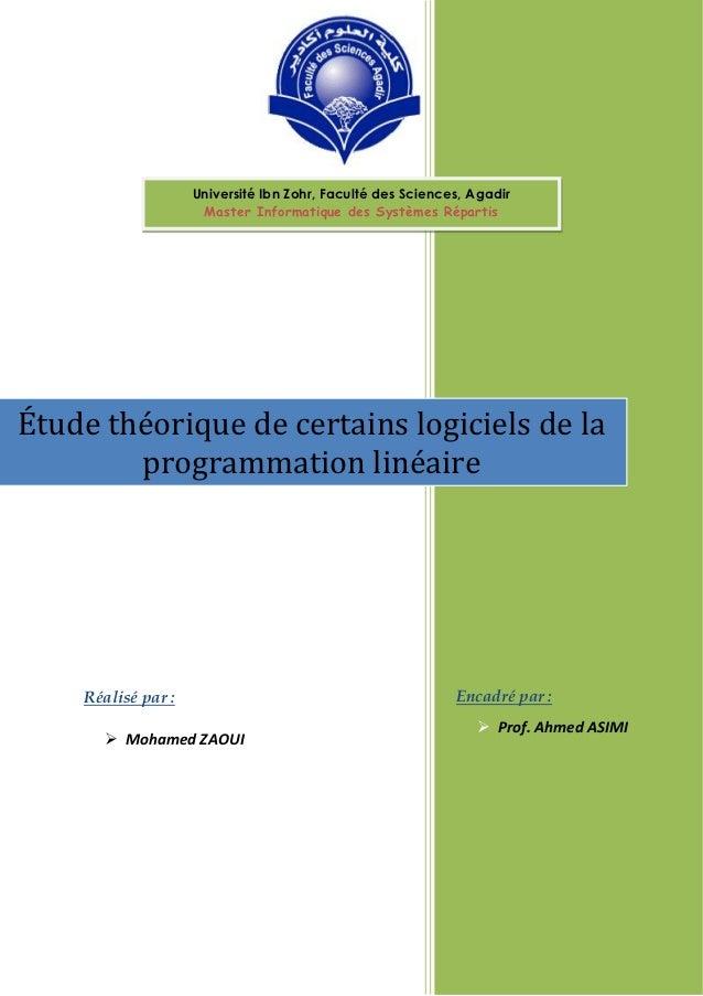 Université Ibn Zohr, Faculté des Sciences, Agadir                     Master Informatique des Systèmes RépartisÉtude théor...