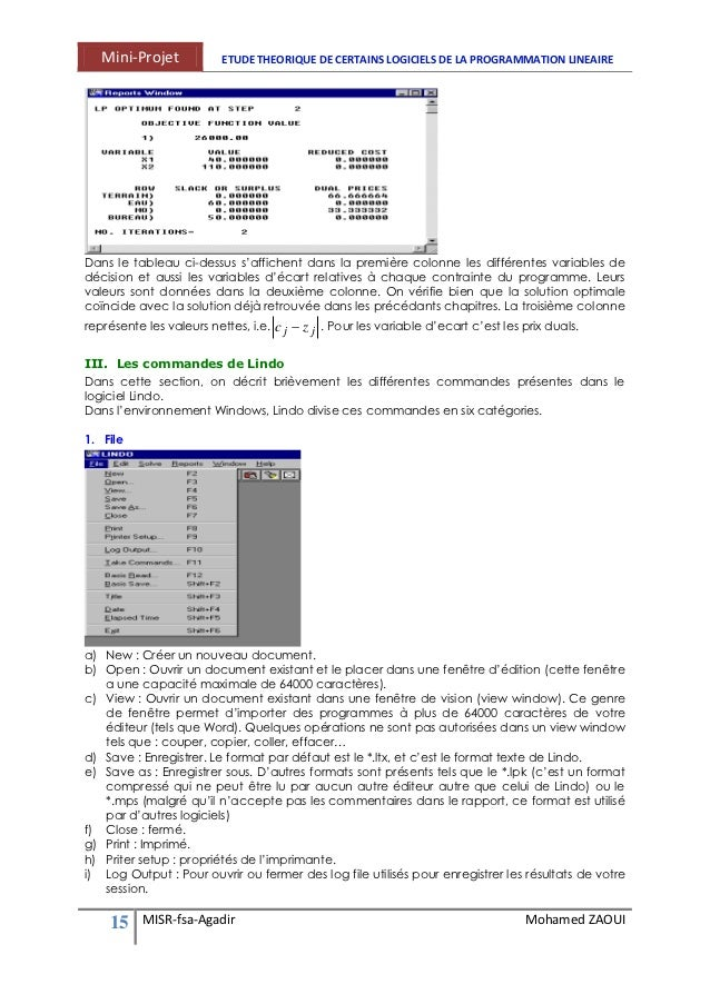 logiciel lindo programmation linéaire