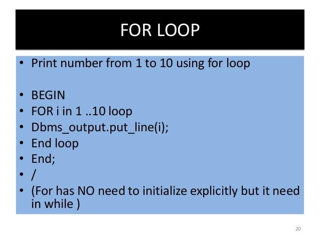oracle sql for loop