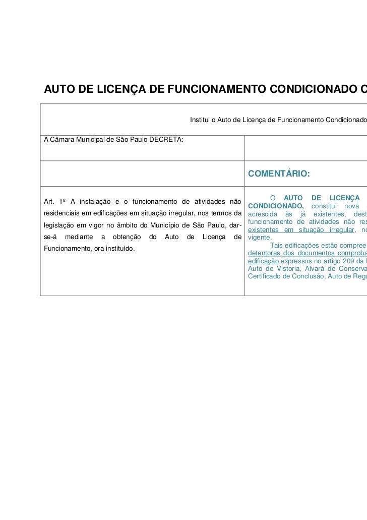 AUTO DE LICENÇA DE FUNCIONAMENTO CONDICIONADO COMENTADO                                               Institui o Auto de L...