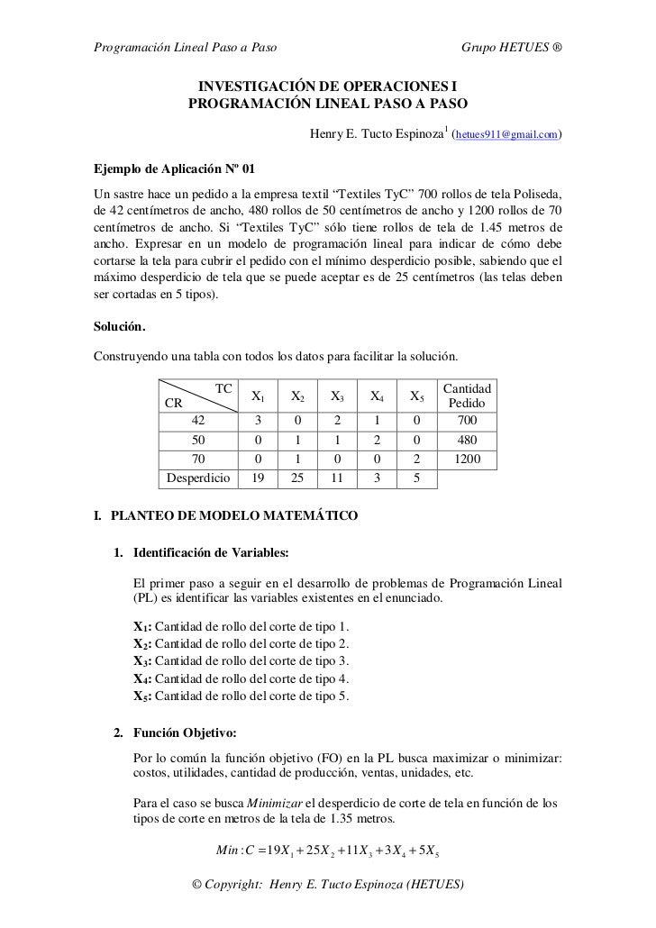 Programación Lineal Paso a Paso                                               Grupo HETUES ®                      INVESTIG...