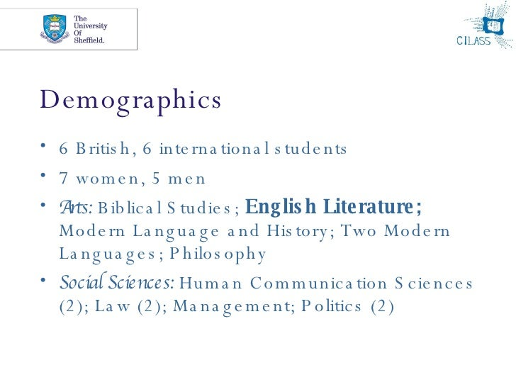 Demographics <ul><li>6 British, 6 international students </li></ul><ul><li>7 women, 5 men </li></ul><ul><li>Arts:  Biblica...