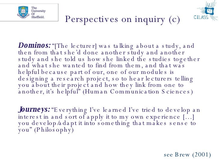 """Perspectives on inquiry (c) <ul><li>Dominos:  """"[The lecturer] was talking about a study, and then from that she'd done ano..."""