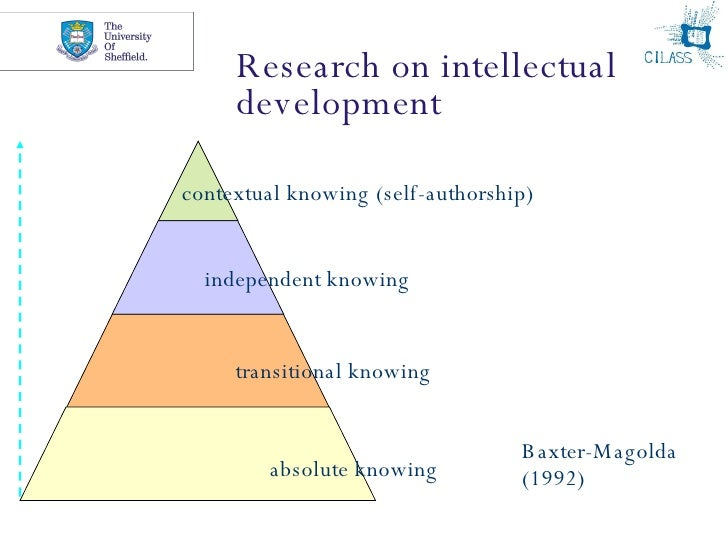 Research on intellectual development absolute knowing transitional knowing independent knowing contextual knowing (self-au...