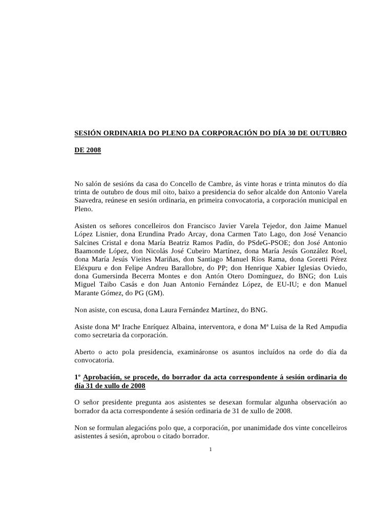SESIÓN ORDINARIA DO PLENO DA CORPORACIÓN DO DÍA 30 DE OUTUBRO  DE 2008    No salón de sesións da casa do Concello de Cambr...