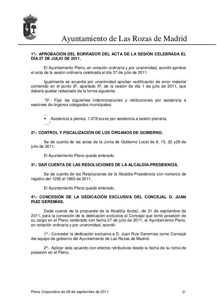 Acta del Pleno Municipal del 28 de septiembre de 2011 Slide 2
