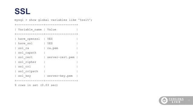 13 mysql > show global variables like '%ssl%'; +---------------+-----------------+   Variable_name   Value   +------------...