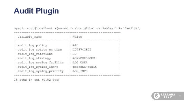 32 Audit Plugin mysql: root@localhost ((none)) > show global variables like 'audit%'; +-----------------------------+-----...
