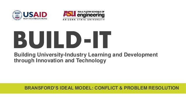 Building University-Industry Learning and Development through Innovation and Technology BRANSFORD'S IDEAL MODEL: CONFLICT ...