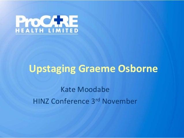 Upstaging Graeme Osborne Kate Moodabe HINZ Conference 3rd November