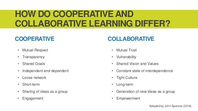 Collaborative Teaching Goals ~ Pl co op vs collab learning
