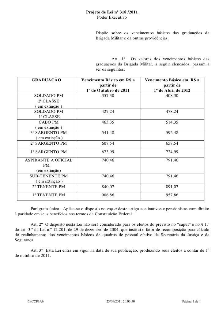 Projeto de Lei nº 318 /2011                                            Poder Executivo                                    ...