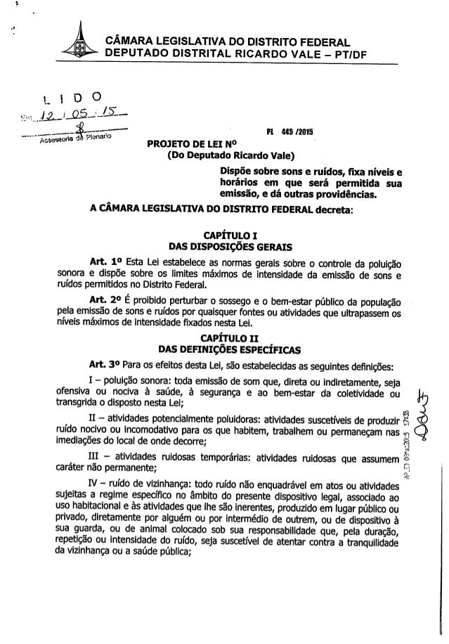 PL 445/2015 - Alteração na Lei do Silêncio do Distrito Federal