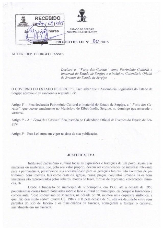 Projeto de Lei nº 80/2015