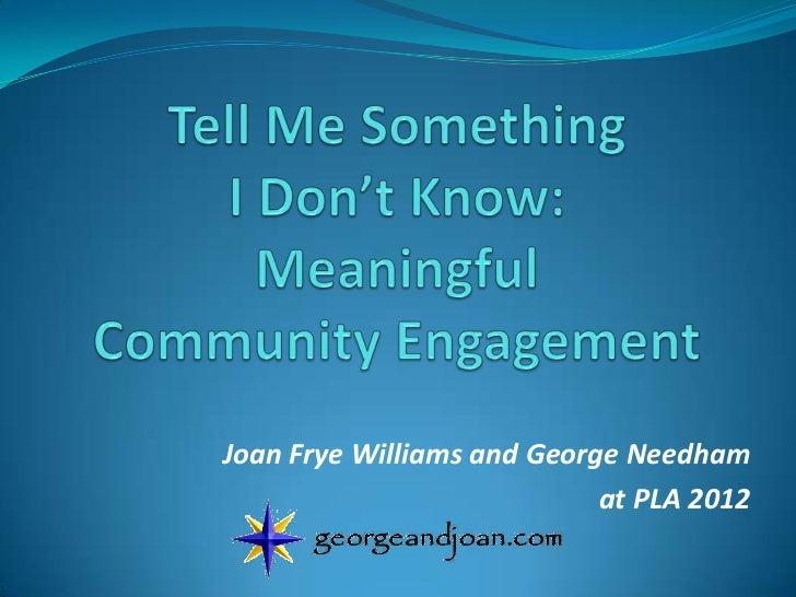 Joan Frye Williams and George Needham                            at PLA 2012