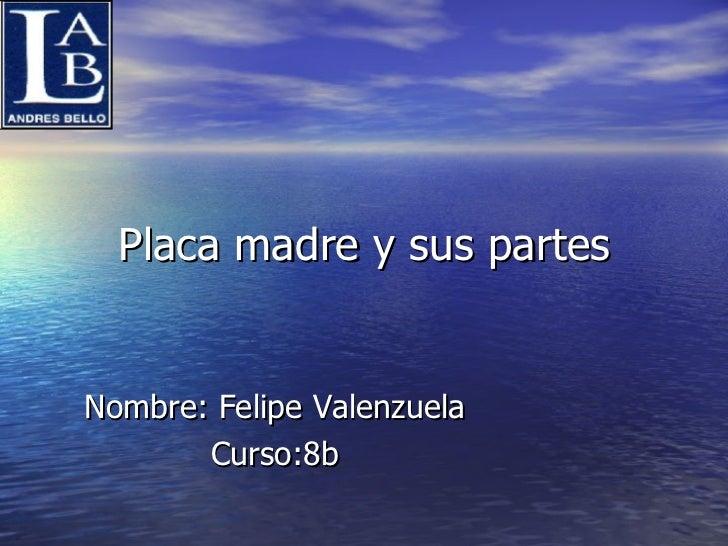 Placa madre y sus partes Nombre: Felipe Valenzuela Curso:8b