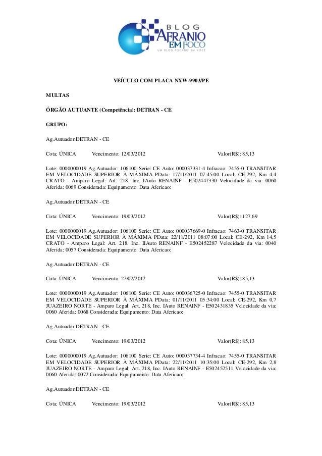 VEÍCULO COM PLACA NXW-9903/PE MULTAS ÓRGÃO AUTUANTE (Competência): DETRAN - CE GRUPO: Ag.Autuador:DETRAN - CE Cota: ÚNICA ...