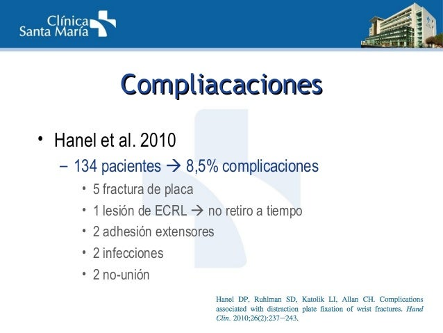 CompliacacionesCompliacaciones • Ruch et al. 2005 – 22 pacientes • 1 déficit extensión sin rotura • Dodds et al. 2013 – 25...