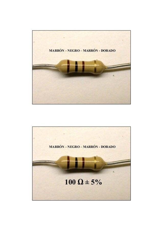 MARRÓN – NEGRO – MARRÓN - DORADO MARRÓN – NEGRO – MARRÓN - DORADO 100 ± 5%