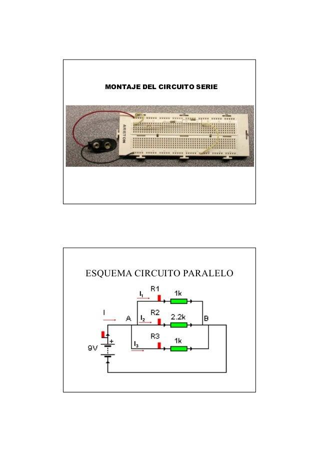 MONTAJE DEL CIRCUITO SERIE ESQUEMA CIRCUITO PARALELO I2 I1 I3