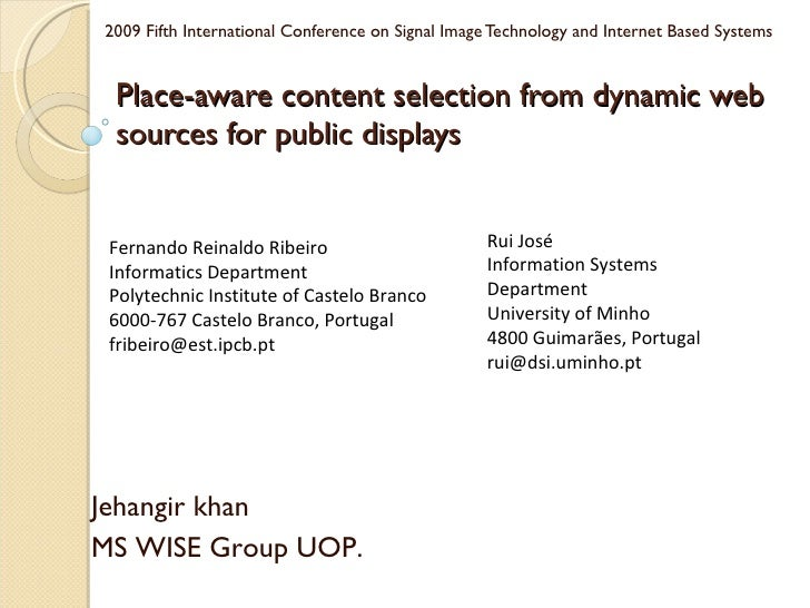 Place-aware content selection from dynamic web sources for public displays  2009 Fifth International Conference on Signal ...