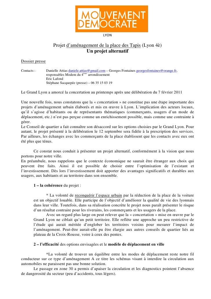 LYON                     Projet d'aménagement de la place des Tapis (Lyon 4è)                                    Un projet...