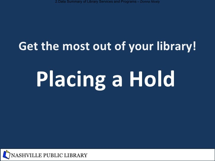 """Get the most out of your library! Make a """"To Read"""" List NASHVILLE PUBLIC LIBRARY"""