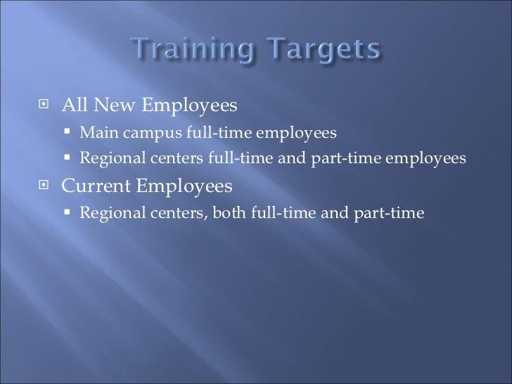 <ul><li>All New Employees </li></ul><ul><ul><li>Main campus full-time employees </li></ul></ul><ul><ul><li>Regional center...