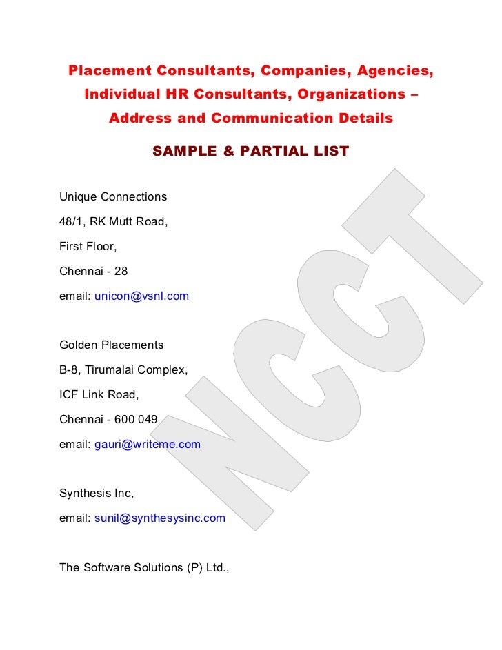 Placement Consultants, Companies, Agencies,      Individual HR Consultants, Organizations –           Address and Communic...