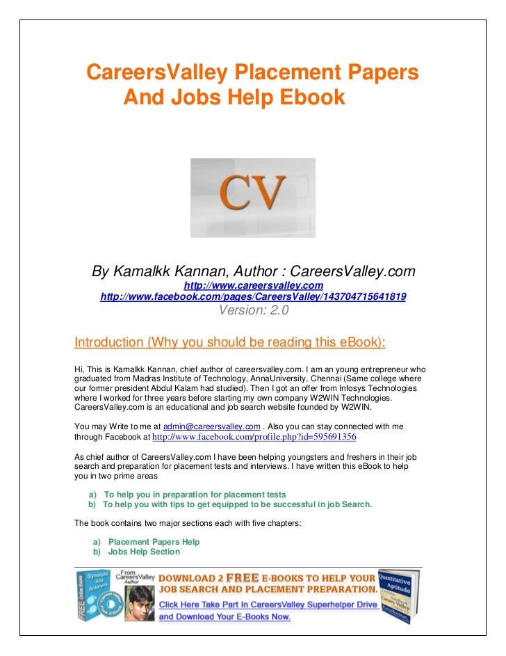 CareersValley Placement Papers      And Jobs Help Ebook    By Kamalkk Kannan, Author : CareersValley.com                  ...