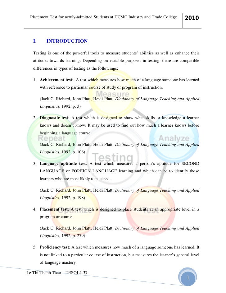Esl diagnostic essay