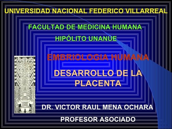 UNIVERSIDAD NACIONAL FEDERICO VILLARREAL     FACULTAD DE MEDICINA HUMANA            HIPÓLITO UNANUE          EMBRIOLOGIA H...
