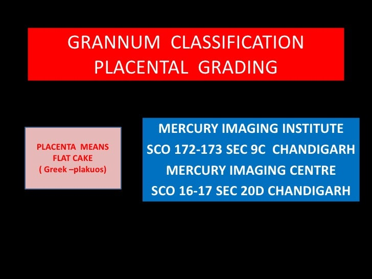 GRANNUM  CLASSIFICATION                                      PLACENTAL  GRADING  <br />MERCURY IMAGING INSTITUTE <br />SCO...