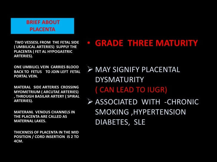 Placental maturity grade 0 means