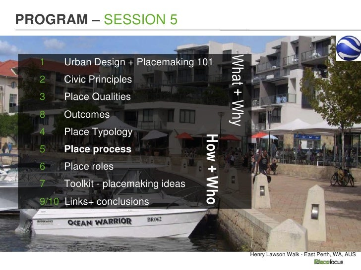 PROGRAM – SESSION 5                                                 What + Why  1    Urban Design + Placemaking 101  2    ...