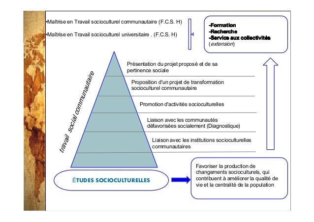 2014-3-25 •Maîtrise en Travail socioculturel communautaire (F.C.S. H) •Maîtrise en Travail socioculturel universitaire . (...