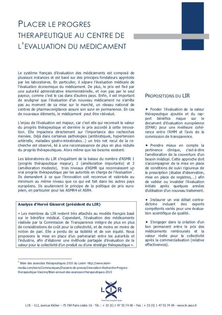 PLACER LE PROGRESTHERAPEUTIQUE AU CENTRE DEL'EVALUATION DU MEDICAMENTLe système français d'évaluation des médicaments est ...