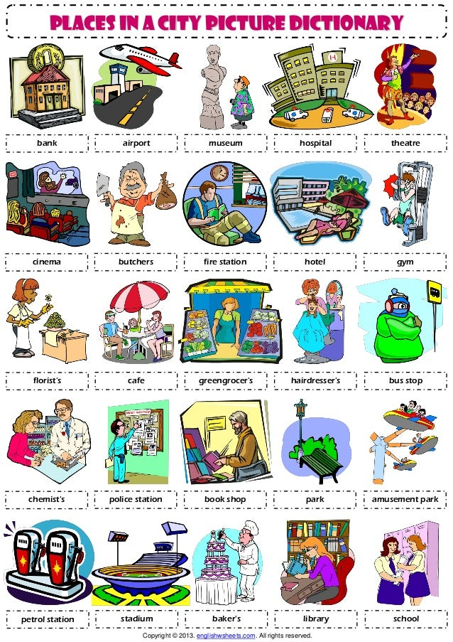 Places In A City Pictionary Poster Worksheet