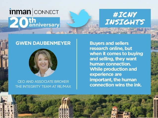 GWEN DAUBENMEYER CEO AND ASSOCIATE BROKER THE INTEGRITY TEAM AT RE/MAX #ICNY INSIGHTS Buyers and sellers research online, ...