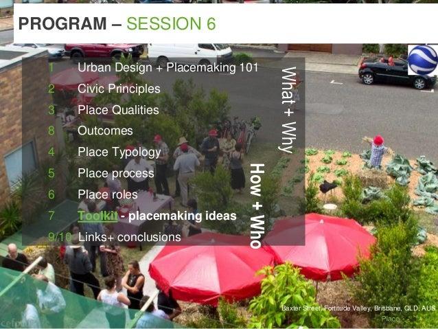 Baxter Street, Fortitude Valley, Brisbane, QLD, AUS PROGRAM – SESSION 6 1 Urban Design + Placemaking 101 2 Civic Principle...