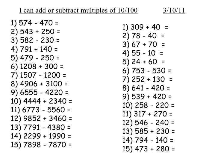 place value and and multiples of 10 and 100