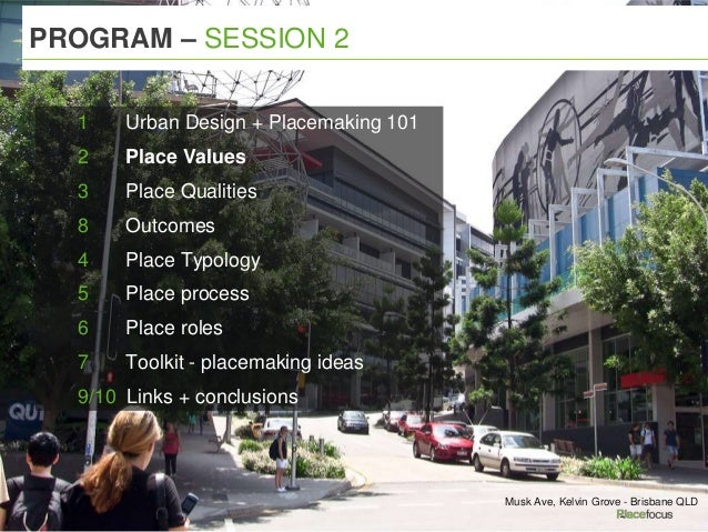 PROGRAM – SESSION 2 Musk Ave, Kelvin Grove - Brisbane QLD 1 Urban Design + Placemaking 101 2 Place Values 3 Place Qualitie...