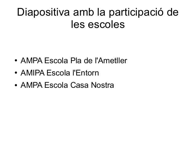 Diapositiva amb la participació deles escoles● AMPA Escola Pla de lAmetller● AMIPA Escola lEntorn● AMPA Escola Casa Nostra