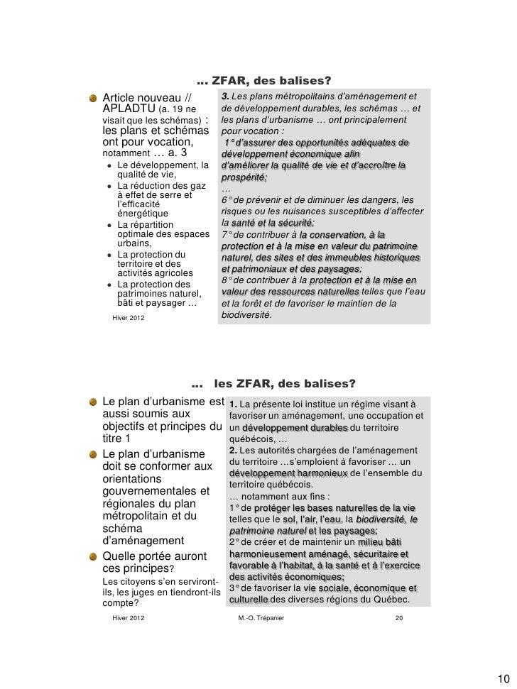 … ZFAR, des balises?Article nouveau //             3. Les plans métropolitains d'aménagement etAPLADTU (a. 19 ne          ...